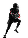 American football player runner running silhouette one in shadow on white background Stock Photos