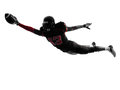 American football player scoring touchdown silhouette one in shadow on white background Royalty Free Stock Image