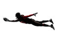 American football player scoring touchdown silhouette one in shadow on white background Royalty Free Stock Photography