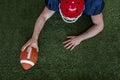 American football player scoring a touchdown upward view of an Stock Photo
