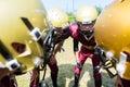 American Football players at strategy huddle Royalty Free Stock Photo