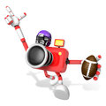 American football playing red camera character create d camera robot series Royalty Free Stock Photo