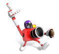 American football playing red camera character create d camera robot series Royalty Free Stock Image