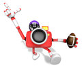 American football playing red camera character create d robot series Royalty Free Stock Photography