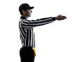 American football referee gestures first down silhouette in on white background Royalty Free Stock Images