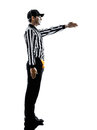 American football referee gestures first down silhouette in on white background Stock Photography