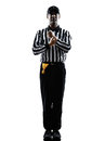American football referee gestures holding silhouette in on white background Stock Photos