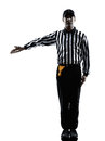 American football referee gestures silhouette in on white background Stock Images
