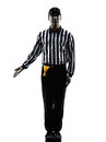 American football referee gestures silhouette in on white background Royalty Free Stock Images