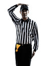 American football referee gestures silhouette in on white background Stock Photos