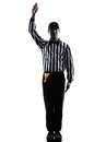 American football referee gestures silhouette in on white background Royalty Free Stock Photos