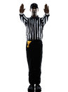 American football referee gestures silhouette Royalty Free Stock Photo