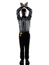 American football referee gestures time out silhouette in on white background Royalty Free Stock Images