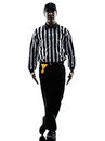 American football referee gestures tripping silhouette in on white background Stock Photography