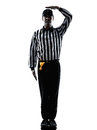 American football referee gestures uncatchable pass silhouette in on white background Royalty Free Stock Image