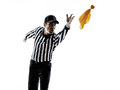 American football referee throwing yellow flag silhouette gestures in on white background Royalty Free Stock Photo