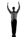 American football referee touchdown gestures silhouettes in on white background Stock Photo