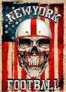 American football skull vintage vector print for boy sportswear in custom colors graphic design Royalty Free Stock Photo