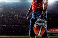 American football sportsman player in stadium Royalty Free Stock Photos
