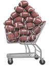 American Footballs in Football Shopping Cart Royalty Free Stock Photography