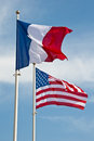 American and French flags Royalty Free Stock Photo