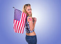American girl caucasian woman with flag tattoo Stock Photos