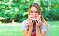 American girl eating watermelon Royalty Free Stock Photo
