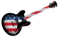 American guitar an electric with flag isolated on a white background Royalty Free Stock Photos