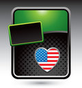 American heart on green stylized advertisement Stock Images