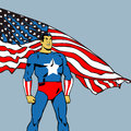 American hero comic book style illustration of super with the flag in the background Royalty Free Stock Photography