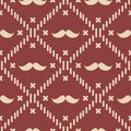 American Hipster Mustache Tartan Plaid and Argyle Vector Patterns in Patriotic Red, White and Blue. 4th of July or Father`s Day