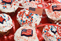 American Holiday Cupcakes Stock Photography