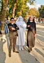 American horror story at lucca comics and games three cosplayers with costumes inspired by the tv series asylum during the Royalty Free Stock Image