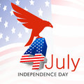 American independence day background or concept th of july with silhouette of national bird eagle on waving national flag Stock Photo