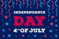 American independence day card with colorful ribbon and star. Royalty Free Stock Photo