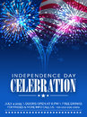 American Independence Day celebration invitation card. Royalty Free Stock Photo