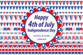 American Independence Day, celebration in USA. Set borders, bunting, flags, garland. Collection of decorative elements Royalty Free Stock Photo