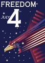 American independence day poster. Vector illustration decorative background design Royalty Free Stock Photo