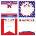 American independence day template card sets this is cards design file Stock Photos