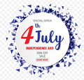 American Independence Day of 4th July with round banner confetti