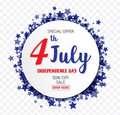 American Independence Day of 4th July with round banner star