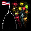 American Independence Day, US symbols, vector illustration Royalty Free Stock Photo
