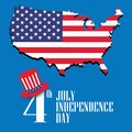 American independence day. USA map. United States flag. Vector Royalty Free Stock Photo