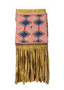 American Indian beaded buckskin bag isolated Stock Photos