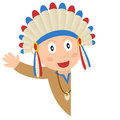 American indian blank banner a cartoon kid with a isolated on white background Royalty Free Stock Image