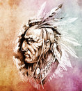 American Indian Chief illustration Royalty Free Stock Images