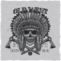 American Indian Chief Skull With Tomahawk. T-shirt label design.