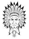 American indian chief tattoo illustration Royalty Free Stock Photography