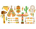 American Indian Ethnic Elements Boho Style Design Set Royalty Free Stock Photo