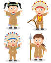 American indian kids collection set of four cartoon or native boys and girls isolated on white background Stock Photography
